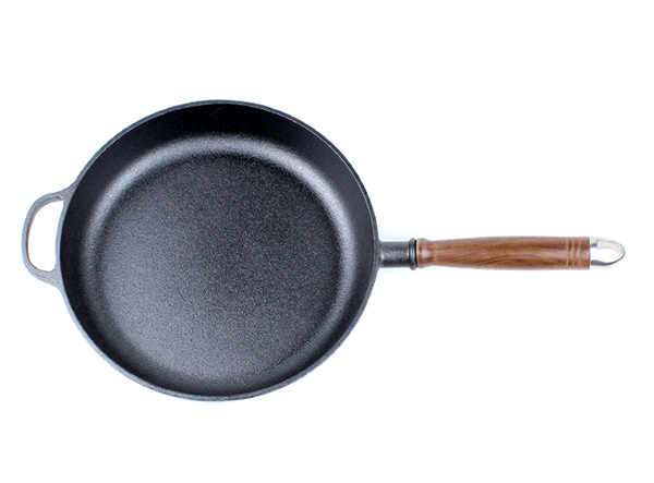 Cast Iron Skillet Frying Pan With Wooden Handle