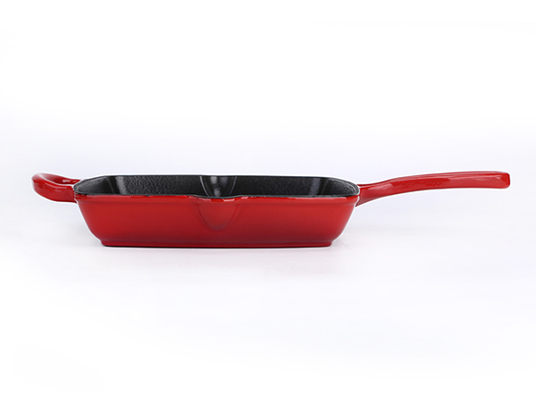 Cast Iron Enamel Grill Pan with loop handle