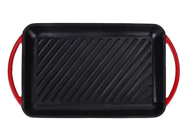 Enamel cast iron grill pan with loop handle