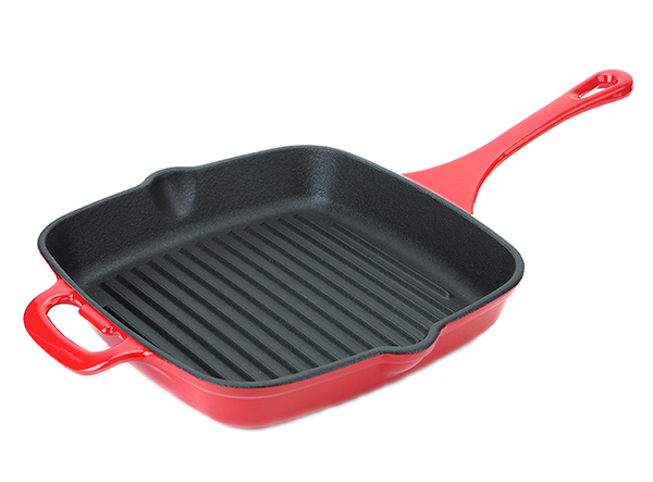 Enamel cast iron grill pan with long handle