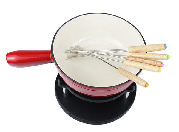 cast iron chocolate cheese fondue pot set