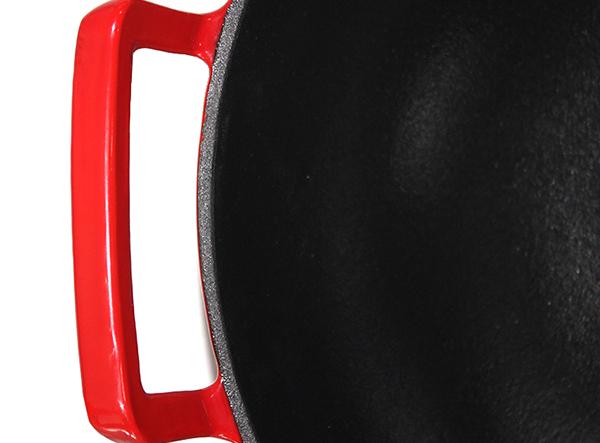 enamel cast iron wok with glass lid