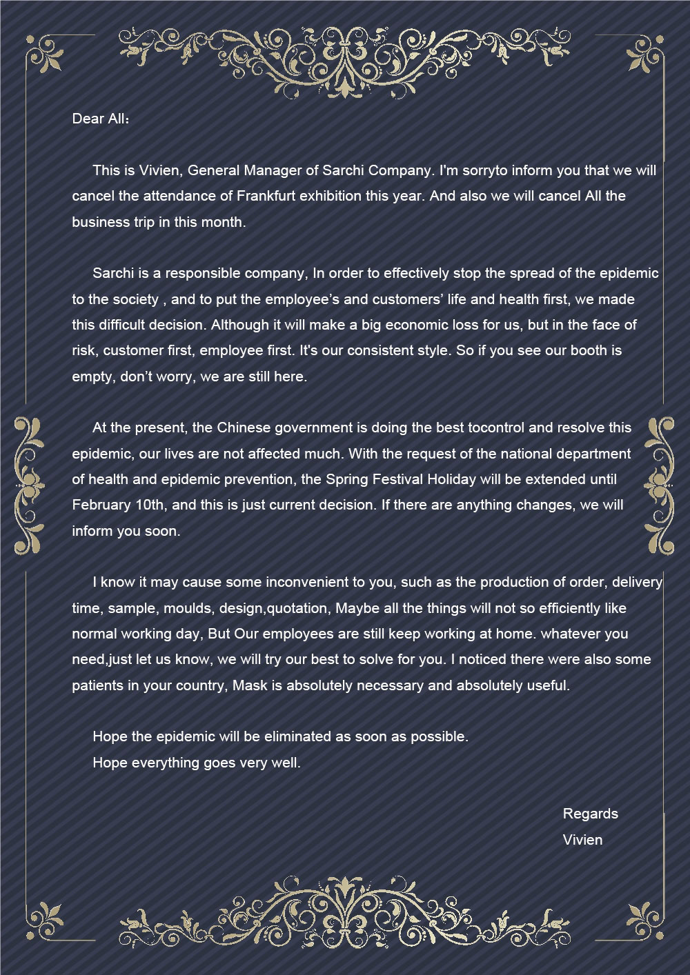 A letter from Sarchi to All