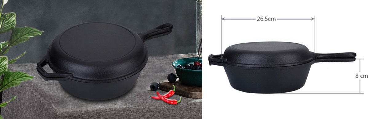 Amazon Solution 2 in 1 Pre-Seasoned Cast Iron Combo Cooker Deep Pan for Sale