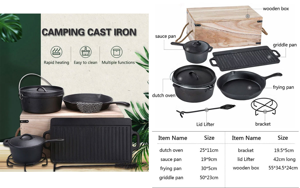Amazon Solution Private Label 6pcs Outdoor Camping Cast Iron Cookware Set