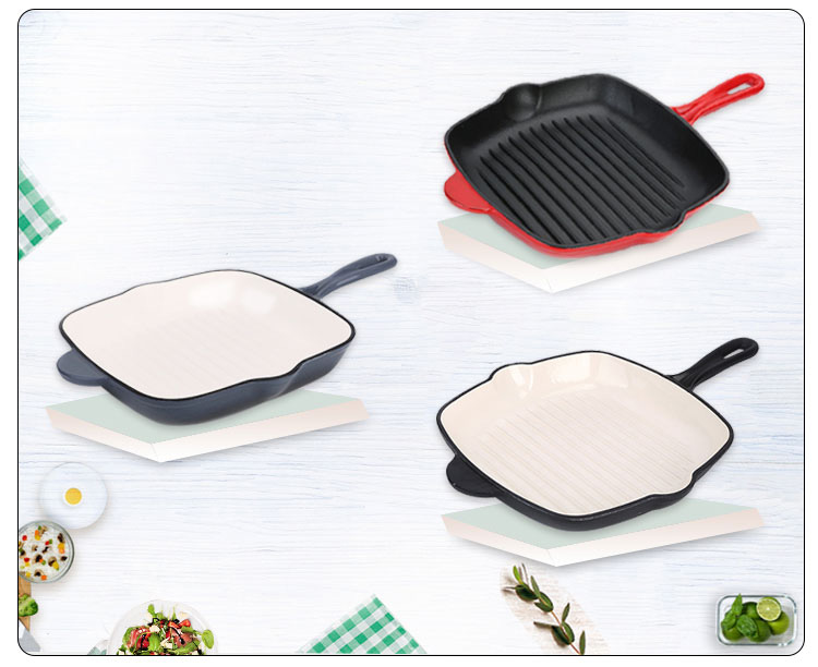 Steak Grill Plate BBQ Square Enamel Cast Iron Grill Fry Pan