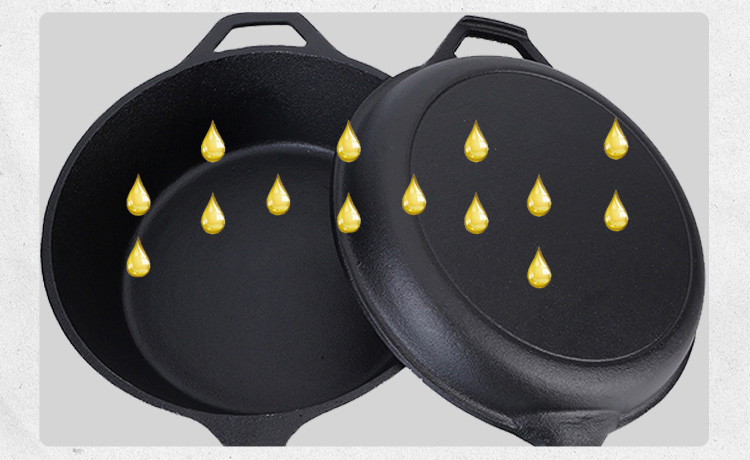 2 in 1 Pre-Seasoned Cast Iron Combo Cooker Deep Pan for Sale