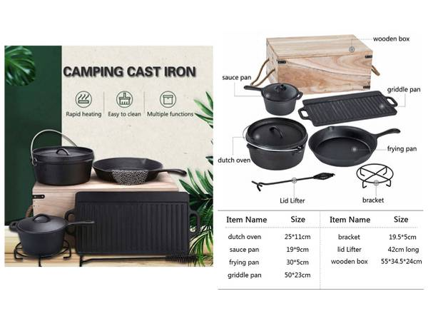 Outdoor Camping Cast Iron Cookware Set