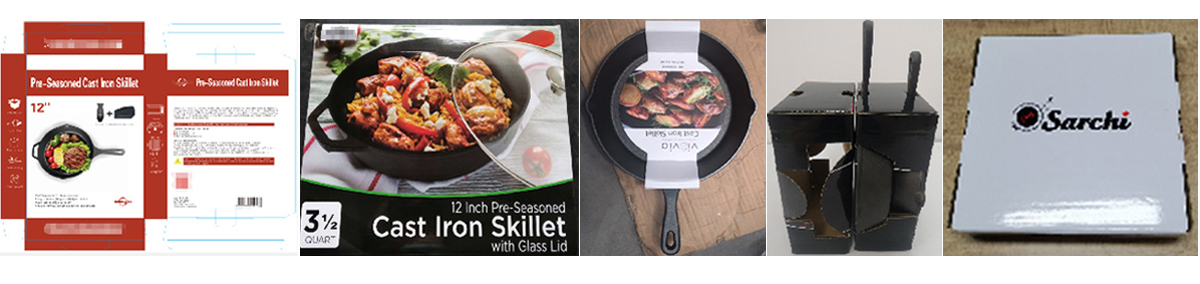 cast iron skillet with wooden handle packaging