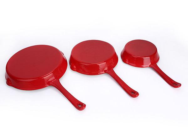 Three-piece enamel frying pan set