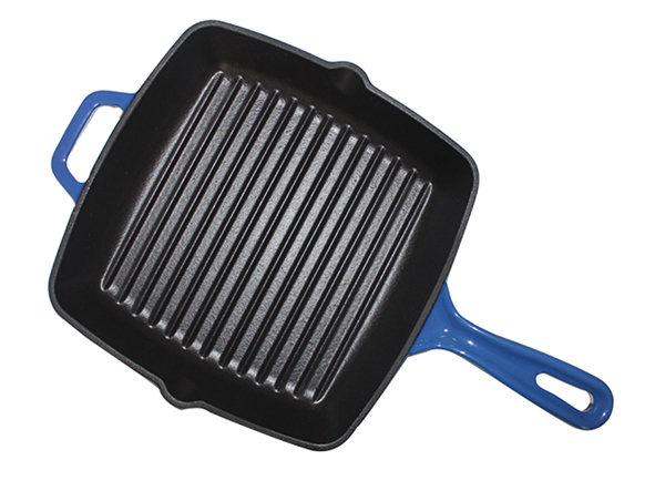 High Quality 24cm Enamel Cast Iron Frying Pan Grill Pan