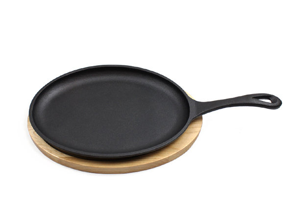 Cast Iron Steak Fajita Pan Sizzling Plate with Wooden Base