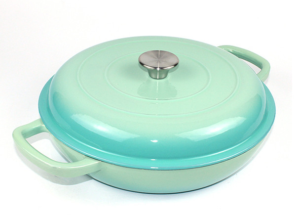 Cast Iron Enamel Casserole Cookware Soup and Stock Shallow Seafood Cooking Pot