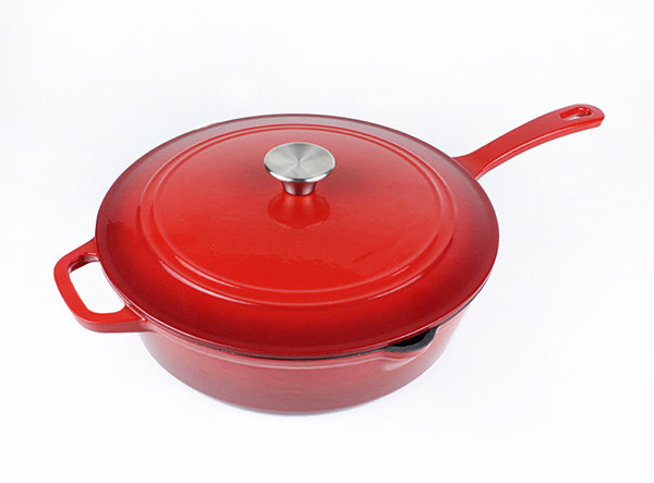 Kitchen Cast Iron Stew Pot Chicken Fryer Sauce Pan Deep Saucepan