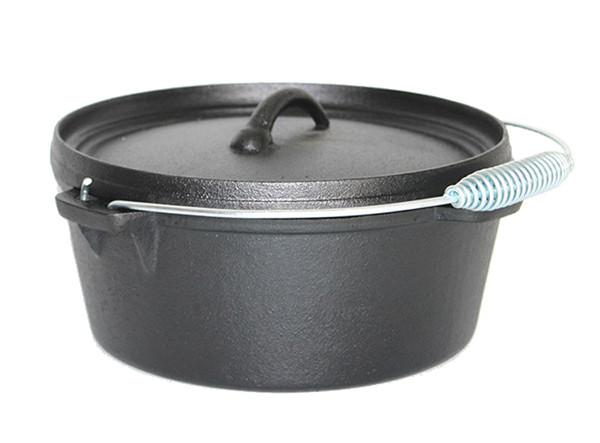 Camping Cast Iron Flat bottom Dutch Oven