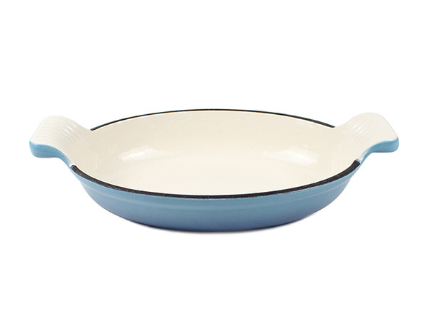 Cast Iron Dish Enamel Tail Shape Handle Metal Fish Pan Kitchen Food Dish Pan