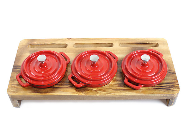 Hot Sale Mini Size Small Cast Iron Casserole Dish Pots With Wooden Base