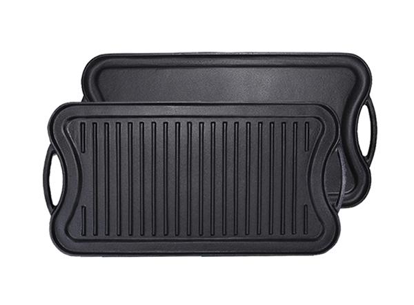 Cast Iron Rectangular Flat Fry Reversible Roasting BBQ Grill Griddle Pan