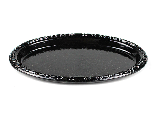 black glitter cast iron baking enamel small dish pan kitchen cast iron oval dish pan