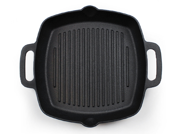 Pre-seasoned square cast iron frying pan