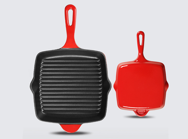 Enamel cast iron grill pan with customized color