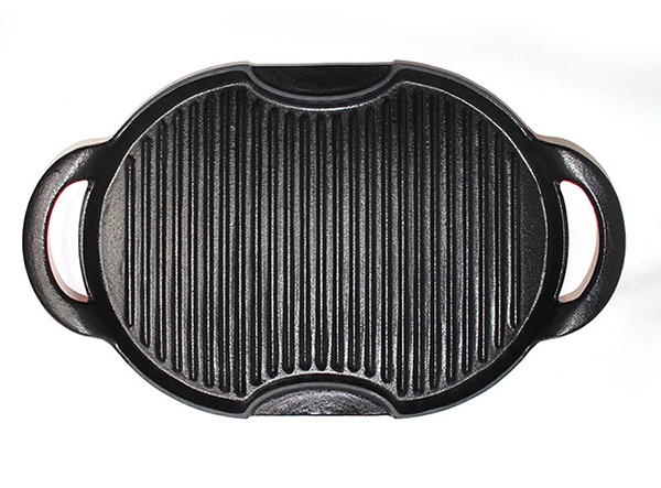 enamel cast iron grill pan with two handle