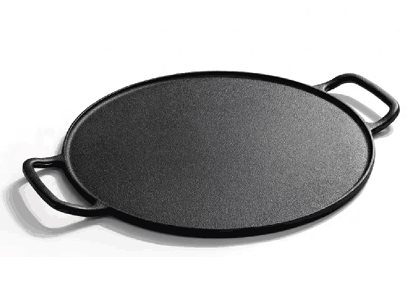 round cast iron flat baking pie pan pizza pan with round two loop Handle