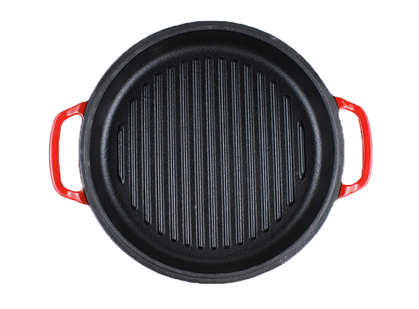 enamel cast iron double dutch oven with grill pan