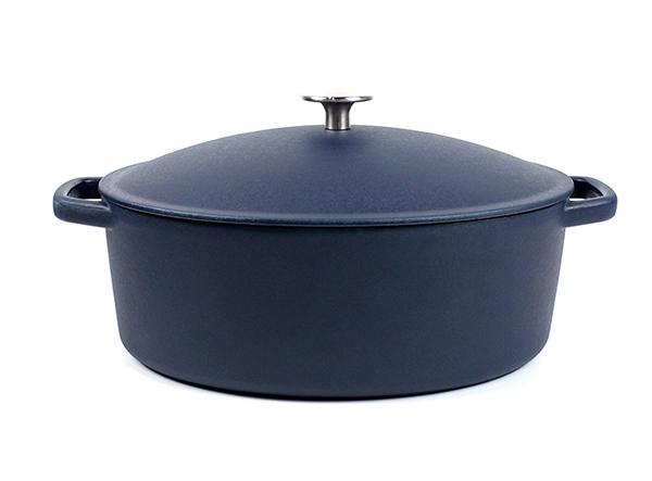 Cast Iron big matte beauty blue Enamel Oval Cooking Casserole