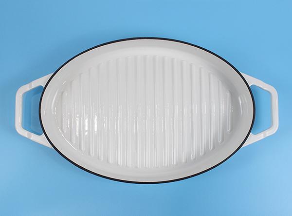 Enamel cast iron oval white double casserole grill pan