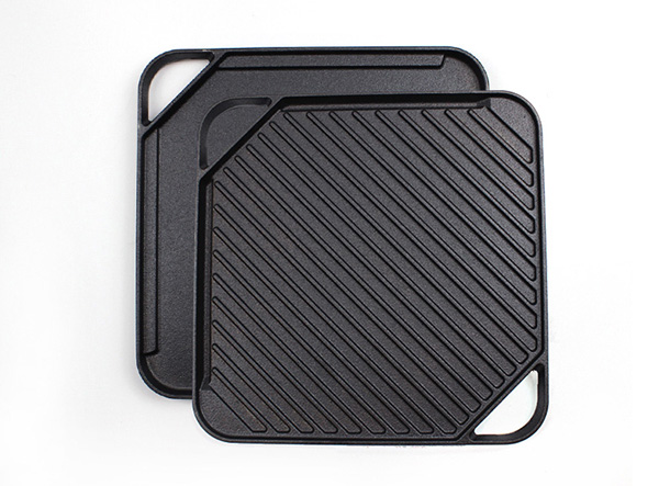 cast iron square double side griddle pan